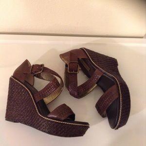 New Beautiful Brown Banana Republic Wedge Sandals
